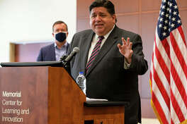 In this Sept. 21, 2020, Illinois Gov. J.B. Pritzker speaks in Springfield, Ill.