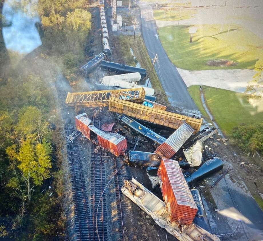 There was a train derailment on the Kansas City Southern track in Mauriceville near the old 62 crossovers Oct. 29, 2020. Photo: Orange County Office Of Emergency Management