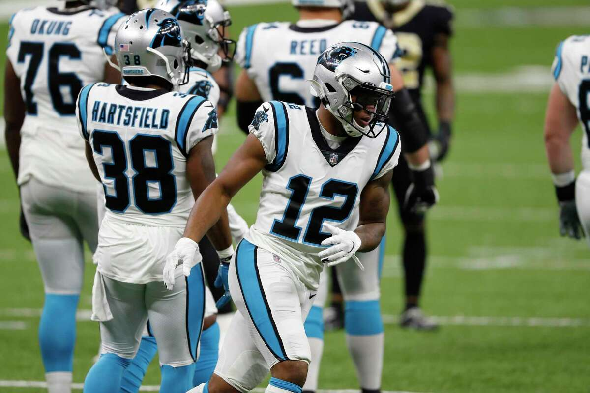 Carolina Panthers wide receiver D.J. Moore (12) during an NFL football game against the New Orleans Saints, Sunday, Oct. 25, 2020, in New Orleans. (AP Photo/Tyler Kaufman)