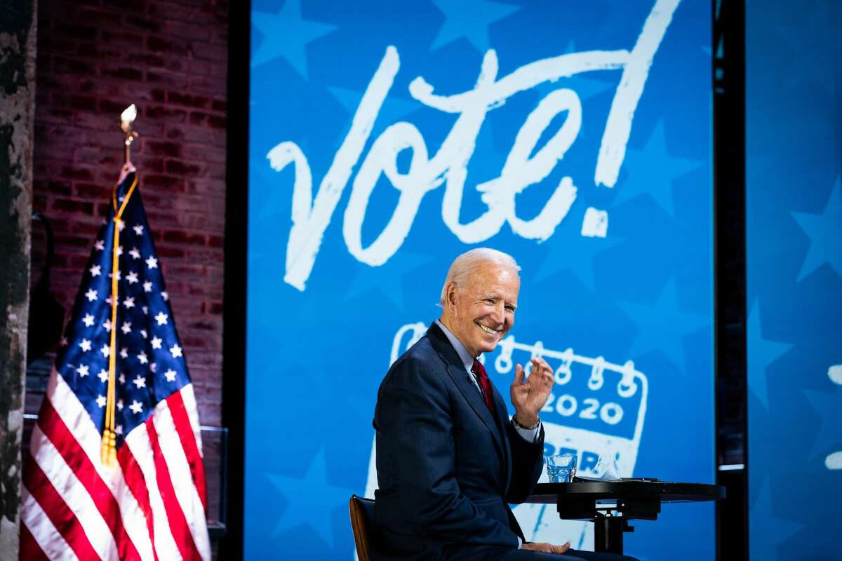 Joe Biden, the Democratic presidential nominee, during a get out and vote event at The Queen theater in Wilmington, Del., on Wednesday, Oct. 28, 2020. (Erin Schaff/The New York Times)