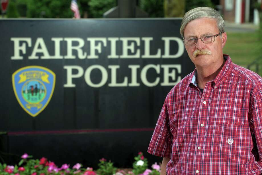 Fairfield Police Chief Christopher Lyddy poses in front of police headquarters, in Fairfield, Conn. June 25, 2020. Photo: Ned Gerard / Hearst Connecticut Media / Connecticut Post
