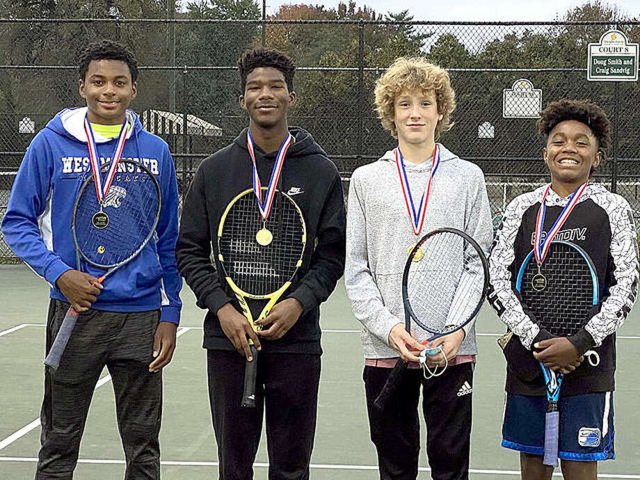 The Net Rushers recently captured first place in the summer/fall season of USTA/Missouri Valley Team Tennis at the Dwight Davis Tennis Center in Forest Park. From left are Evan Jordan, Jordan LaGrone, Bradley bower and Tristan Lloyd Photo: Suhmitted Photo