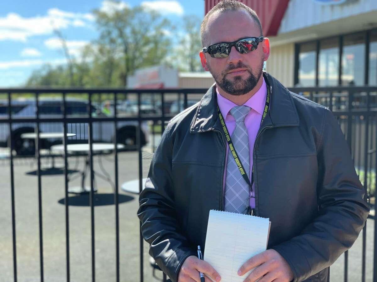 OCSO Det. Josh Lockett gives updates on a trail derailment in Mauriceville Oct. 29, 2020. Isaac Windes/The Enterprise