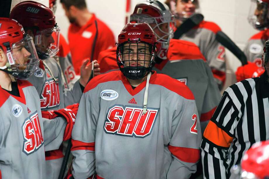 Sacred Heart's Colin Bernard (2) during the Pioneers' 9-4 win over RIT in the Atlantic Hockey quarterfinals at Webster Bank Arena in Bridgeport, Conn. on March 13, 2019. Photo: Steve McLaughlin / Sacred Heart University / Contributed Photo / Stamford Advocate Contributed