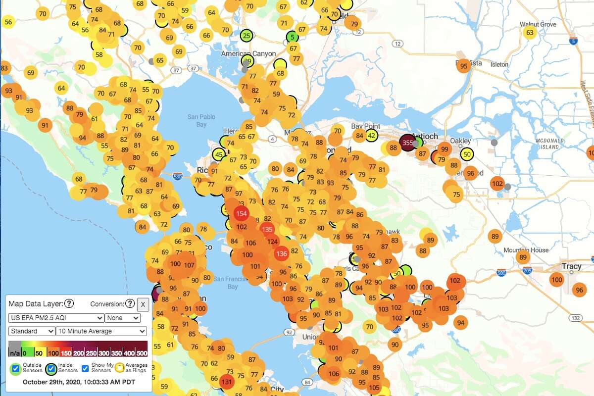 Smoke from the Creek Fire in Fresno County lingered in the Bay Area on Thursday morning. Above is the air quality map from Purple Air captured at 10 a.m. Thursday, Oct. 29.