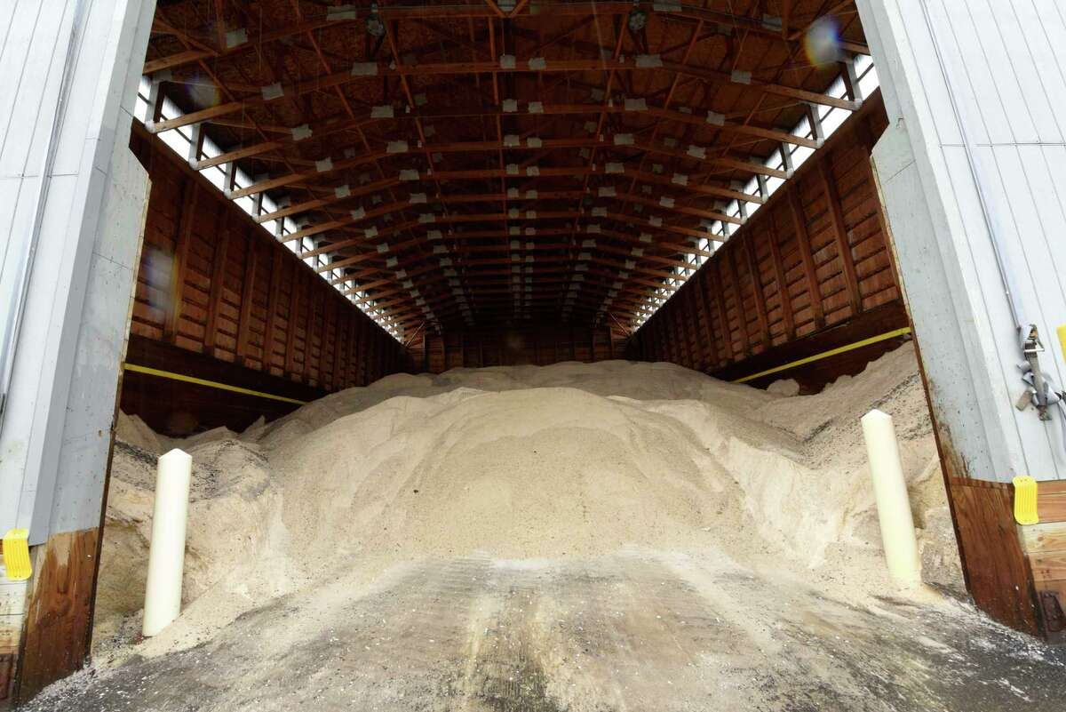 Road salt is seen in the shed as Department of Transportation workers get snowplows ready for potential snow expected early tomorrow morning Thursday, Oct. 29, 2020 in Latham, N.Y. (Lori Van Buren/Times Union)