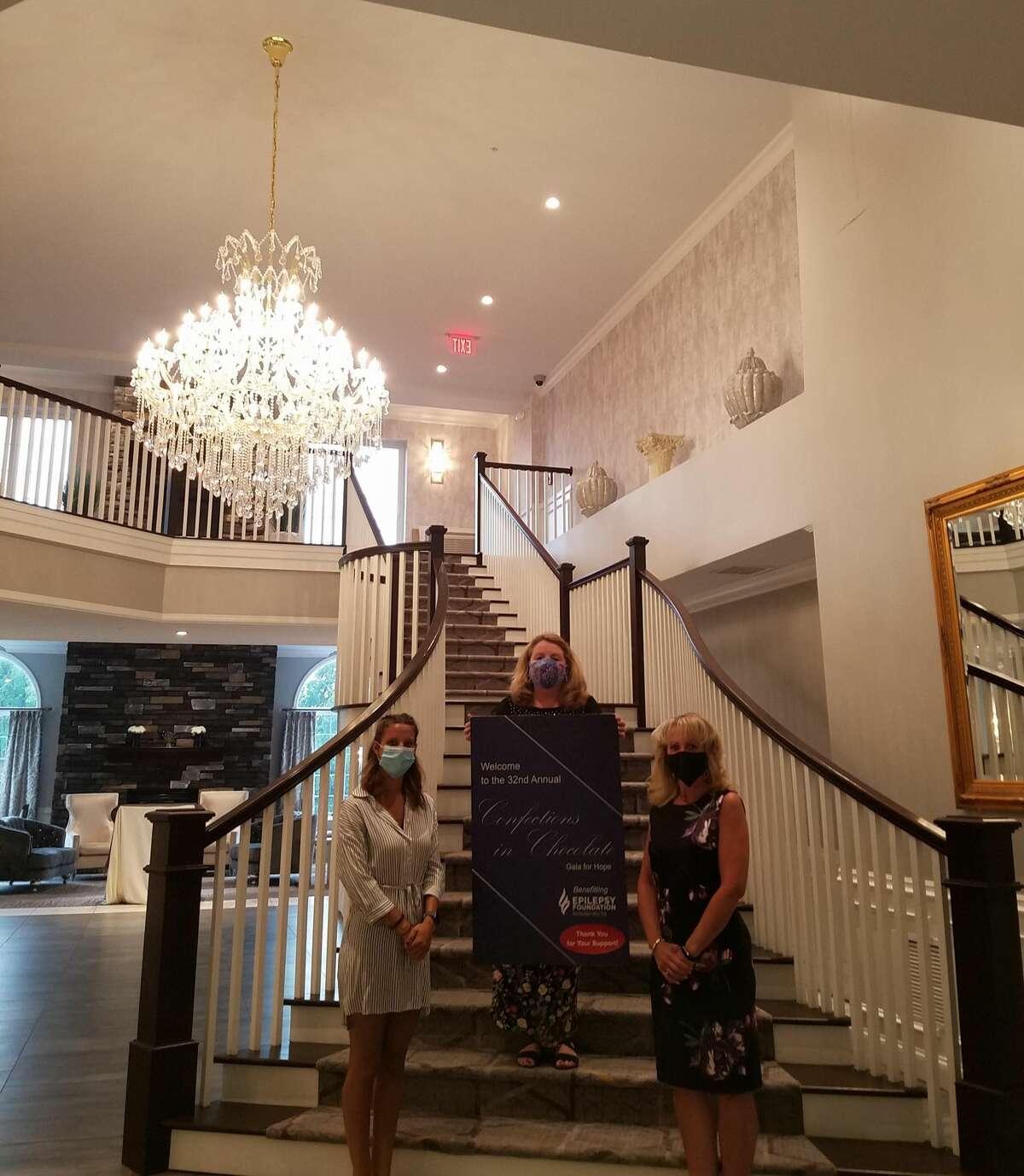 Katelyn Markellos, Susan Kaczynski and Jeannine Garab of the Epilepsy Foundation held a virtual celebration on Zoom, live from the lobby of Glen Sanders Mansion. (Epilepsy Foundation of Northeastern New York)