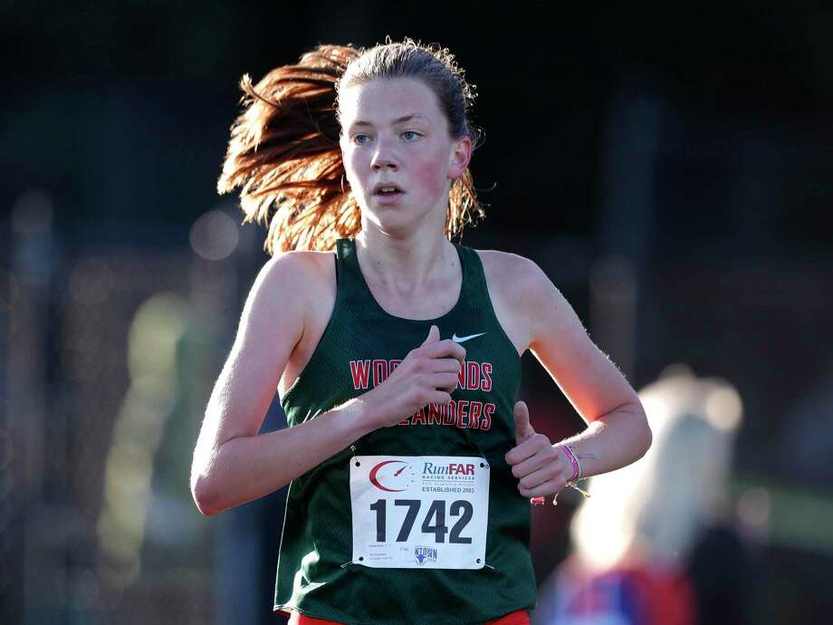 The Woodlands' Natasja Beijen finished first overall in the District 13-6A high school cross country championship at College Park High School, Thursday, Oct. 29, 2020, in The Woodlands Photo: Jason Fochtman, Houston Chronicle / Staff Photographer / 2020 © Houston Chronicle