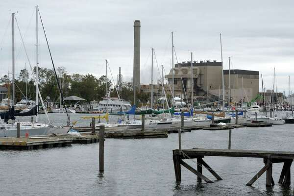 The view looking north where Black Rock Harbor leads to Cedar Creek, in Bridgeport, Conn. Oct. 16, 2020.