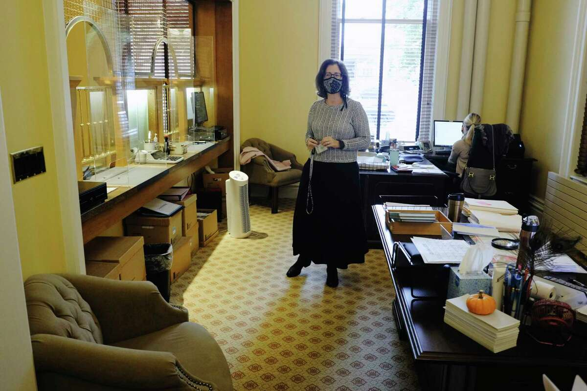 Saratoga Springs Commissioner of Finance Michele Madigan in the finance office during of tour of City Hall and the finished renovations on Thursday, Oct. 29, 2020, in Saratoga Springs, N.Y. (Paul Buckowski/Times Union)