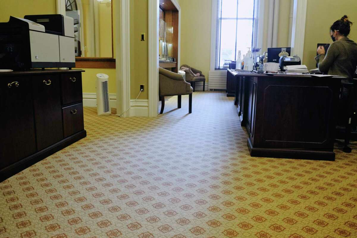 A view of the the new carpeting and furniture in the renovated finance office in City Hall on Thursday, Oct. 29, 2020, in Saratoga Springs, N.Y. (Paul Buckowski/Times Union)