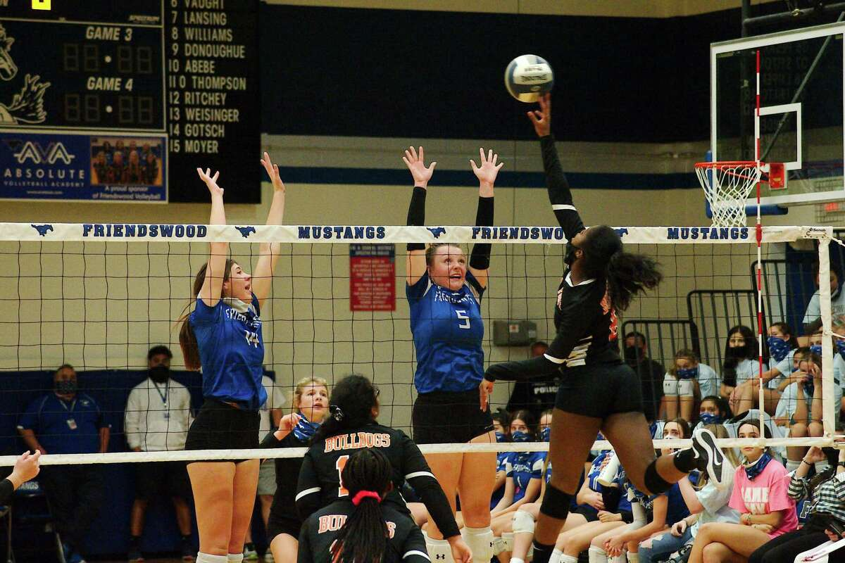 Friendswood freshman Isabella Thompson (14) and senior Ashlyn Svoboda (5) provide the Lady Mustangs with strength up front.