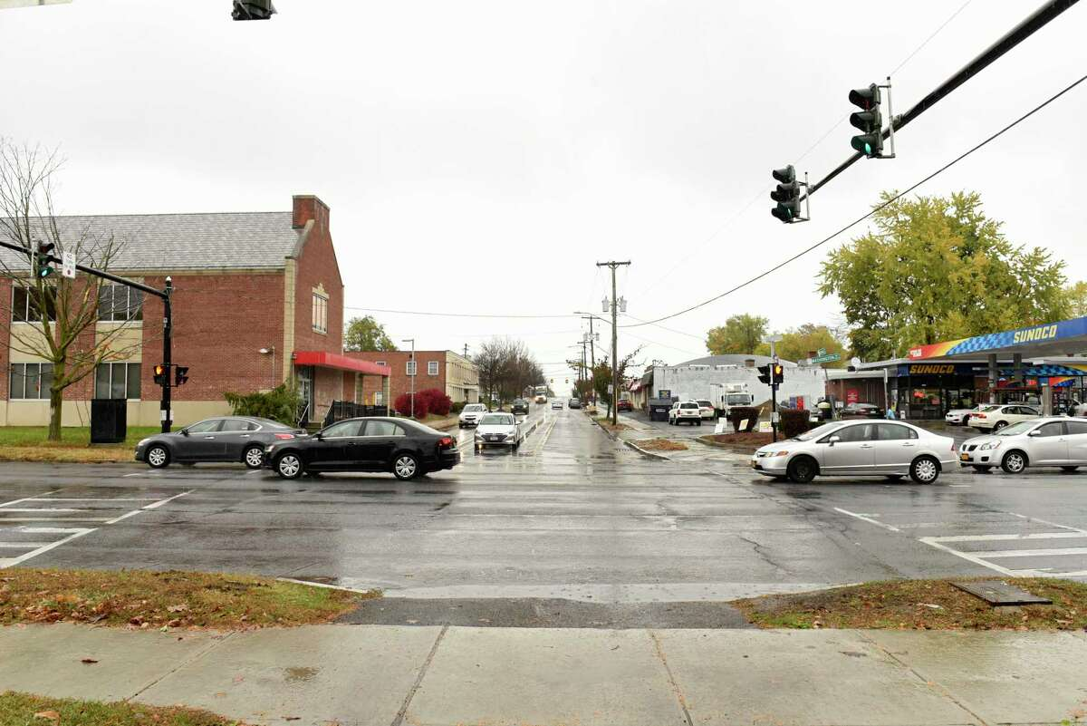 Corner of Colvin Avenue and Washington Ave. at left is where Stewart's wants to build a store and gas station on Thursday, Oct. 29, 2020 in Albany, N.Y. (Lori Van Buren/Times Union)