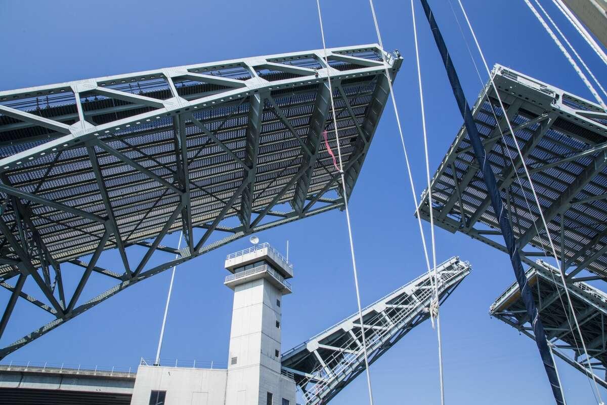 United States, Washington, Seattle. Double drawbridges at the First Avenue South bridge in Seattle.