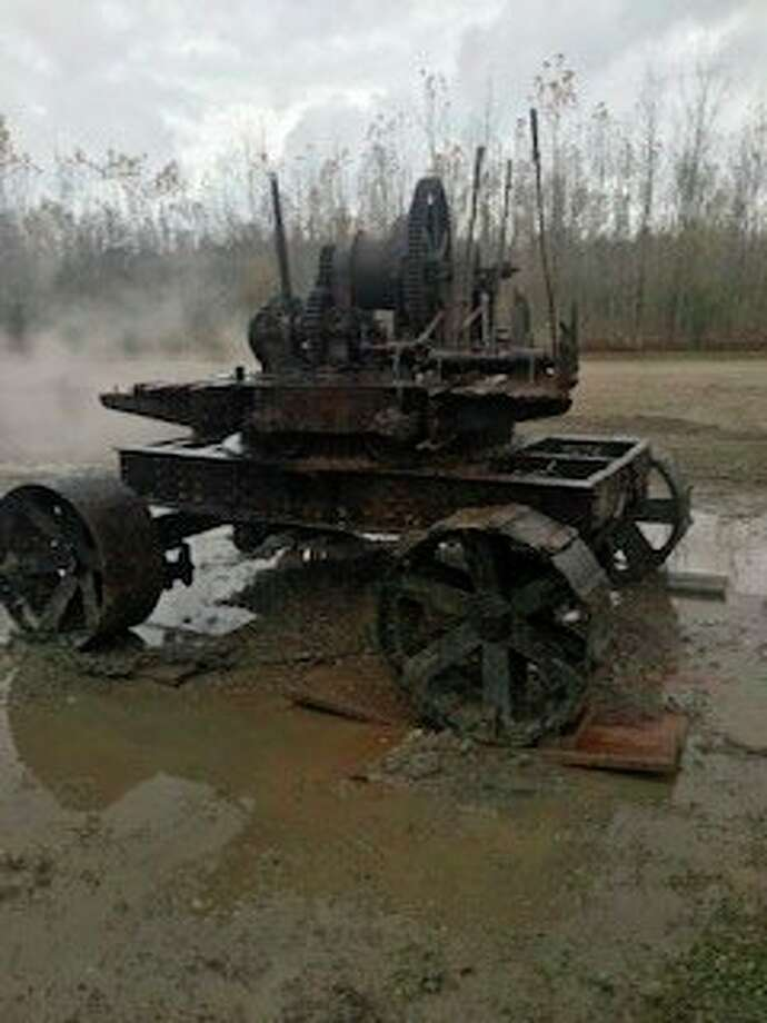 """The chassis of the 1901 """"type O"""" Thew model steam-powered shovel that was recently retrieved from the dry lakebed of Wixom Lake after it had been submerged for 95 years in the 25-foot-deep waters. Beaverton resident Mike Oberloier is restoring the machine, fulfilling his late father's dream. (Photo provided by Mike Oberloier)"""