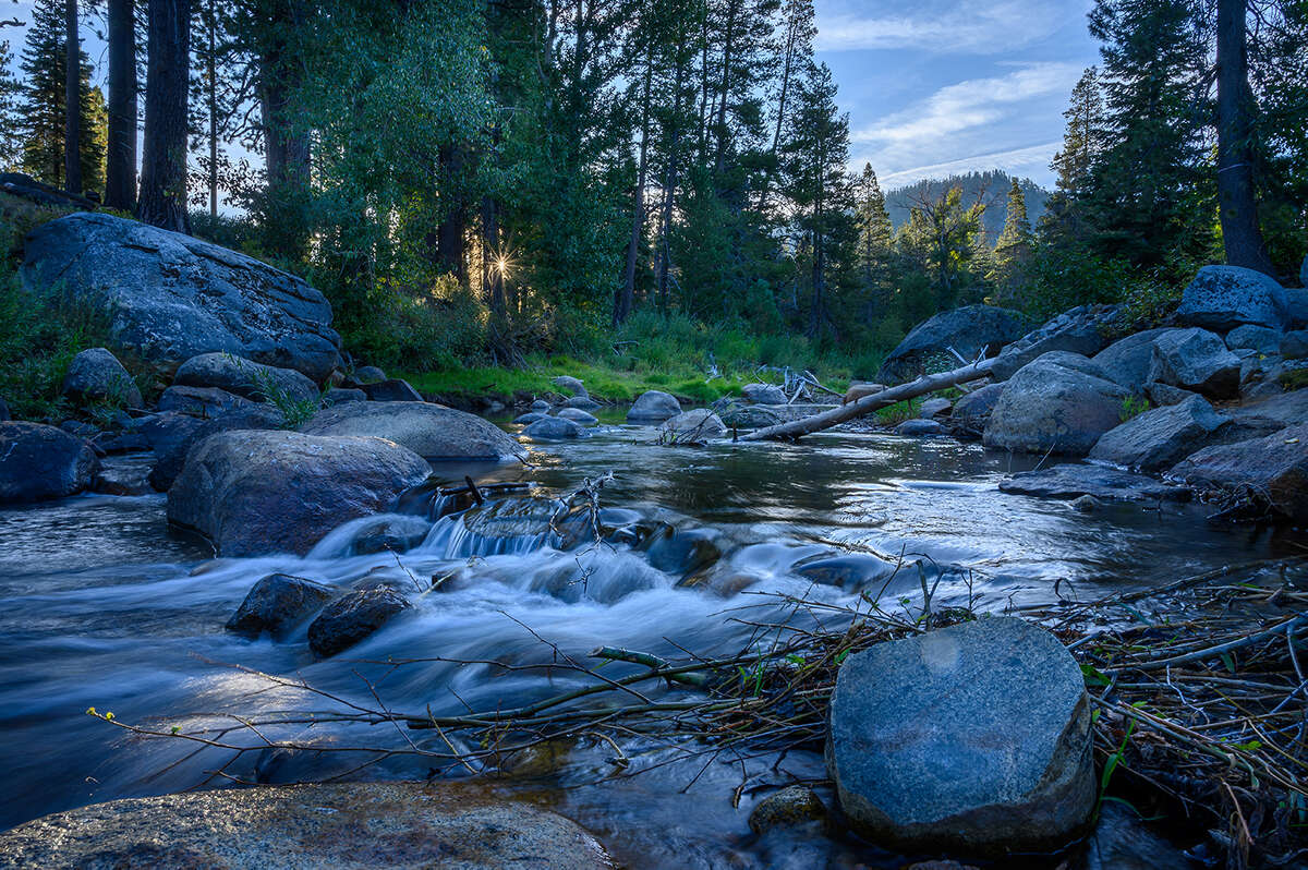 A photo of the Upper Truckee River at Tahoe Pines in Meyers, Calif.