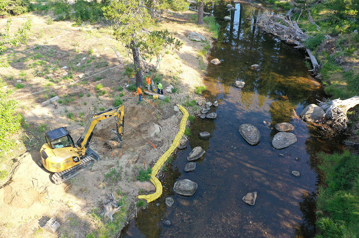 A photo of the restoration work being done at Tahoe Pines in Meyers, Calif.