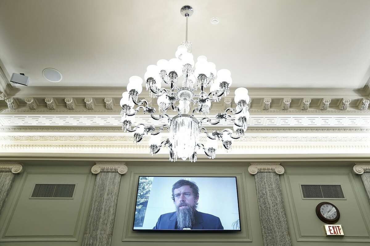 Twitter chief executive Jack Dorsey makes a virtual appearance at a Senate Commerce Committee hearing on Capitol Hill this week.