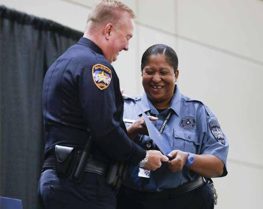 Keisha Davis was promoted to the rank of detention sergeant during the Montgomery County Sheriff's Office promotion and awards ceremony at the Lone Star Convention & Expo Center, Thursday, Oct. 29, 2020, in Conroe. Photo: Jason Fochtman/Staff Photographer / 2020 © Houston Chronicle