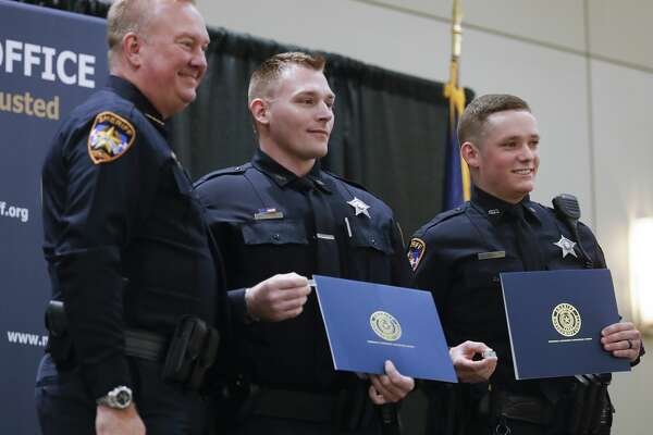 Deputies Anthony Ashley and Clayton Lewis were presented with the life saving award during the Montgomery County Sheriff's Office promotion and awards ceremony at the Lone Star Convention & Expo Center, Thursday, Oct. 29, 2020, in Conroe.