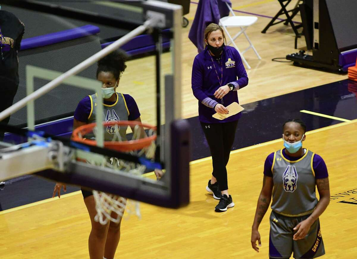 University at Albany women's basketball coach Colleen Mullen, center, is seen as the team practices in the SEFCU Arena at University at Albany on Wednesday, Oct. 28, 2020 in Albany, N.Y. (Lori Van Buren/Times Union)