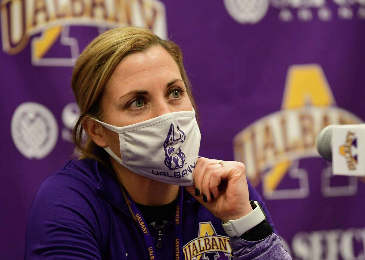 University at Albany women's basketball coach Colleen Mullen answers questions from the media after the team practiced in the SEFCU Arena at University at Albany on Wednesday, Oct. 28, 2020 in Albany, N.Y. (Lori Van Buren/Times Union)
