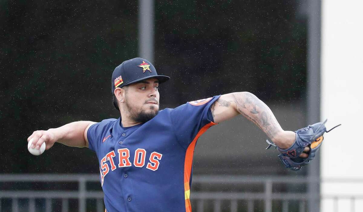Houston Astros pitcher Roberto Osuna (54) during the Houston Astros spring training workouts at the Fitteam Ballpark of The Palm Beaches, in West Palm Beach, Friday, Feb. 21, 2020.