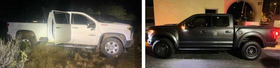 Texas Department of Public Safety troopers said they recovered this 2020 Chevrolet Silverado and this 2020 Ford Raptor. Both had been reported stolen with the San Antonio Police Department. Photo: Courtesy Photo /Texas Department Of Public Safety