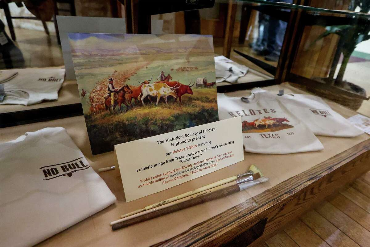 Sales of a T-shirt featuring the work of late artist Warren Hunter benefits the Historical Society of Helotes. Sales will continue as supplies last. They can be purchased at the Society's website at www.historicalsocietyofhelotes.org or at Picosos Peanut Company, 18620 Bandera Road. An exhibit honoring Hunter's work will remain on display at Helotes City Hall until April.