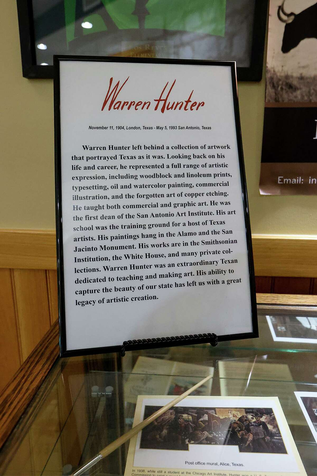 An informational panel is shown as part of an exhibit of late artist Warren Hunter's work at Helotes City Hall. The exhibit honoring Hunter's work will remain on display at Helotes City Hall until April.