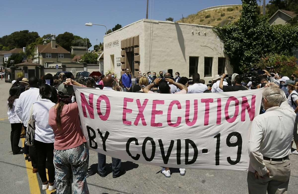 Protesters demonstrate in July against mass transfers to San Quentin State Prison because of coronavirus safety fears.