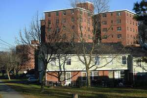 A file photo of the Trumbull Gardens apartments on Trumbull Avenue in Bridgeport, Conn.