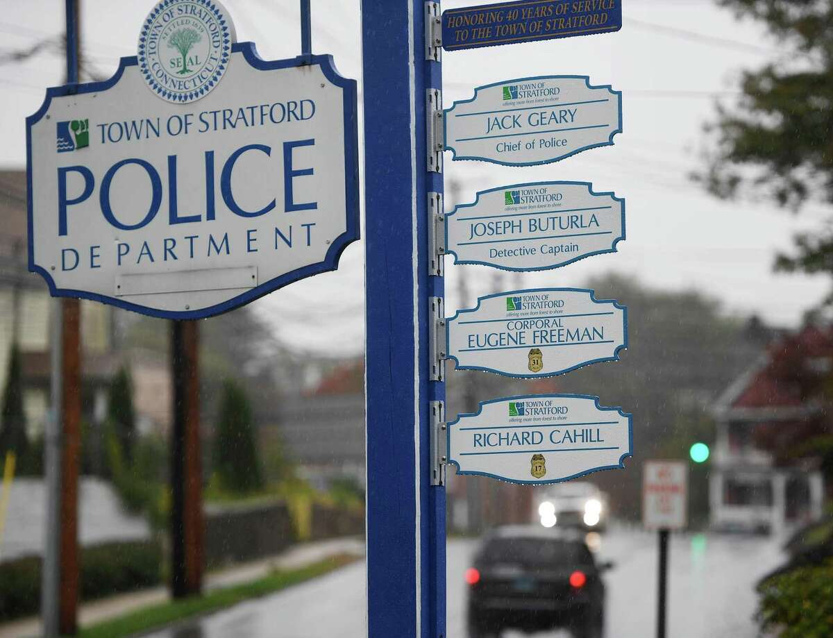 The entrance to the Stratford Police Department features plaques honoring the four officers to serve 40 or more years in Stratford, Conn. on Thursday, October 29, 2020.