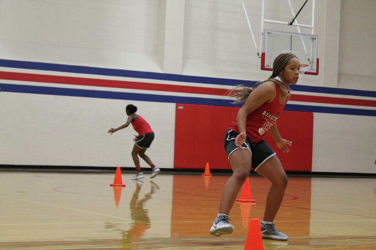 Atascocita's Aspen Edwards going through drills on the first day of practice.