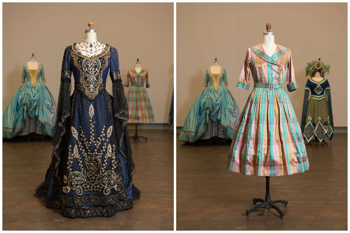 At left, dress worn by soprano Patricia Racette as Roselinde in San Francisco Opera's production of Johann Strauss II's