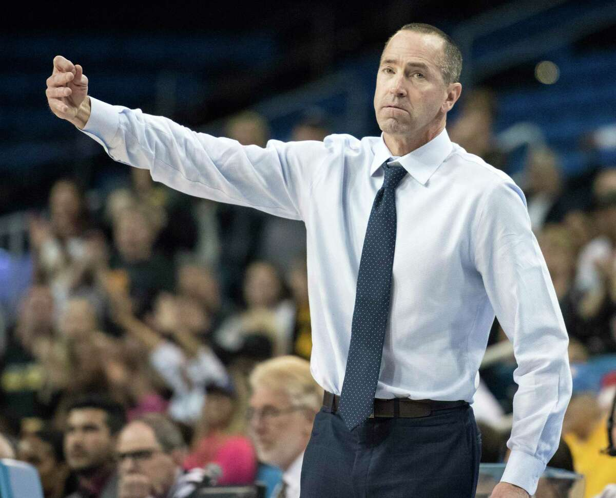 Creighton head coach Jim Flanery gives instructions to his players during the second half of a first-round game in the NCAA women's college basketball tournament against Iowa in Los Angeles, Saturday, March 17, 2018. (AP Photo/Kyusung Gong)
