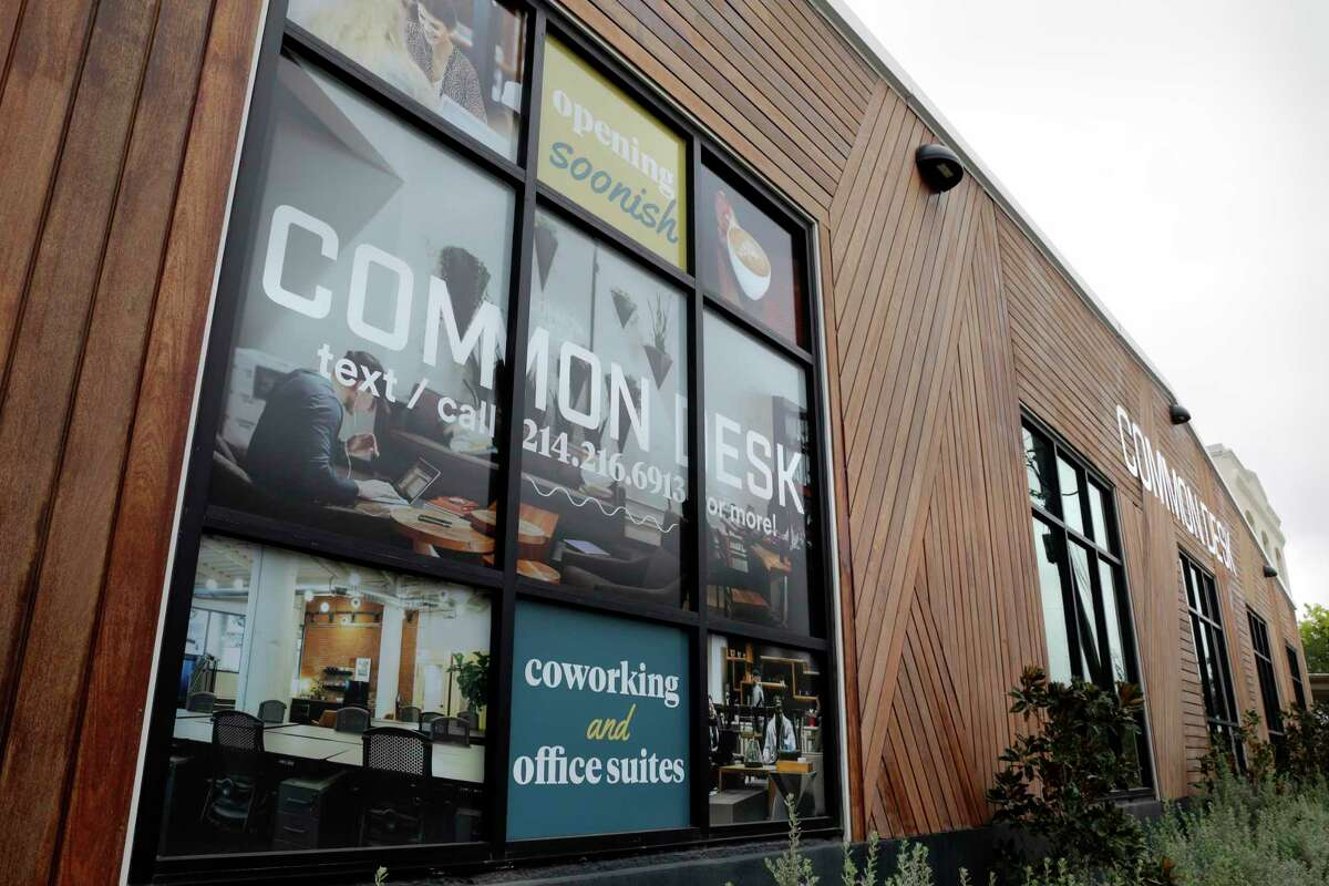 The street side building exterior at Common Desk, a coworking location, on Wednesday, Oct. 28, 2020 in Houston, TX. The facility is the first location in Houston by the Dallas based company and is scheduled to open Nov. 2nd.