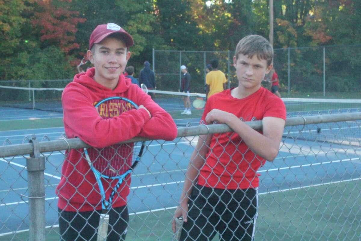 Freshman Austin Hinkley (left) and Tyler Lyman were on the No 3 doubles team for Big Rapids this season. (Pioneer photo/John Raffel)