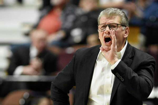 "UConn coach Geno Auriemma during a March 7 game in the AAC Tournament. Auriemma addressed his frustration with the mood of the nation as Election Day approaches: ""I've never felt anything like I'm seeing and feeling in today's world. Never. Not any time in my life have I been so disgusted with so much of what I see happening in the country."""
