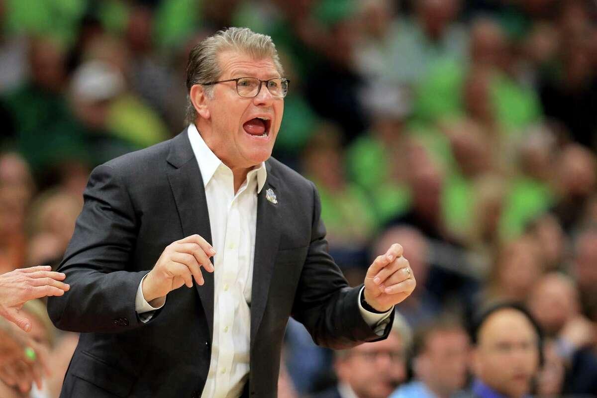 UConn coach Geno Auriemma reacts during a 2019 Final Four game against Notre Dame.