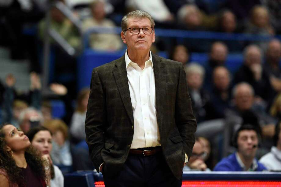 UConn coach Geno Auriemma watches play in the second half against Wichita State during a game in Hartford in January. Photo: Jessica Hill / Associated Presss / Copyright 2020 The Associated Press. All rights reserved.