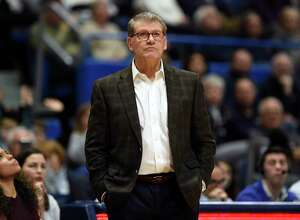 UConn coach Geno Auriemma watches play in the second half against Wichita State during a game in Hartford in January.