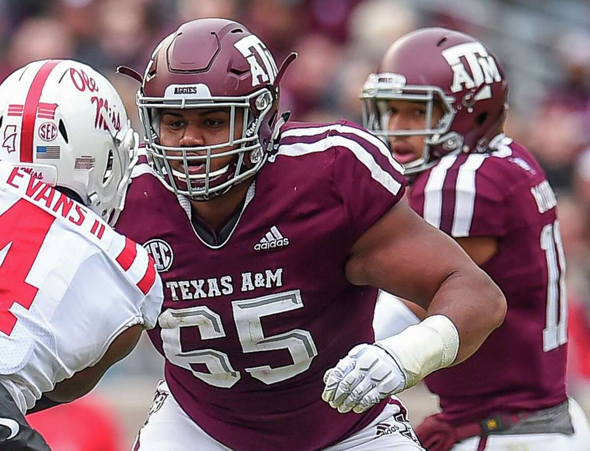 Senior left tackle Dan Moore Jr. (65) has made 31 starts, including one as a freshman, during his Texas A&M career.
