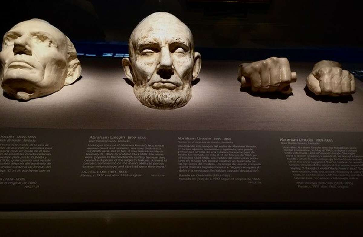 These artifacts in a display case in the National Portrait Gallery in Washington D.C. looked eerie from a distance. Turns out, they are