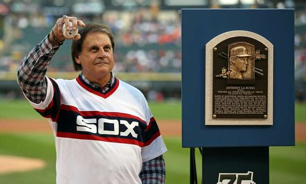 Hall of Fame manager Tony LaRussa is honored before the game Saturday, Aug. 30, 2014 at U.S. Cellular Field. The Chicago White Sox have announced they have hired Tony La Russa as their new manager. (Brian Cassella/Chicago Tribune/TNS) Photo: Brian Cassella, TNS