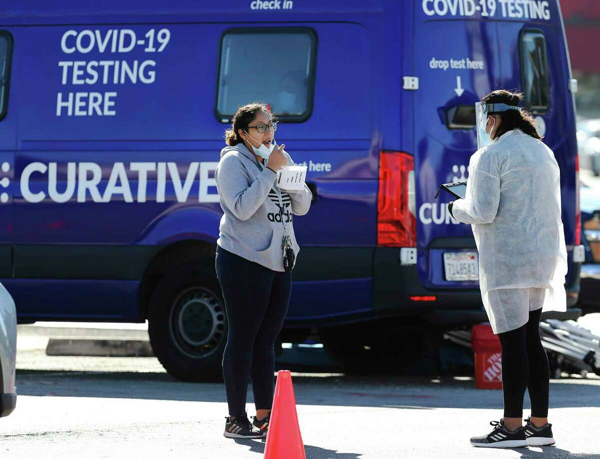 A mobile COVID-19 testing site screens patients for the virus at South Park Plaza on Thursday. The city of San Antonio has added more pop-up testing sites in places where local health officials have seen an uptick in positive cases in the past few days.