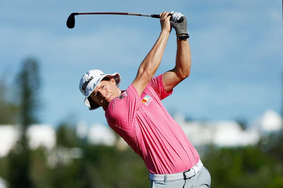 Peter Malnati hits his tee shot on No. 10 in the PGA Tour's Bermuda Championship. He had nine birdies.
