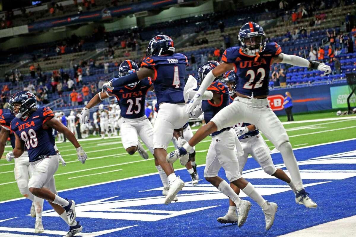 UTSA defensive team members celebrate after an interception ended any chance of Louisiana Tech making a comeback on October 24, 2020 at the Alamodome. Final Score score UTSA 27 Louisiana Tech 26
