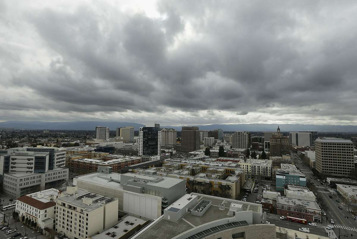 The San Jose skyline is seen from City Hall in San Jose, Calif., Tuesday, Feb. 5, 2013. The Silicon Valley is leading the rest of the country out of the recession with increased jobs, income and initial public offerings last year, according to a new regional report. (AP Photo/Jeff Chiu)