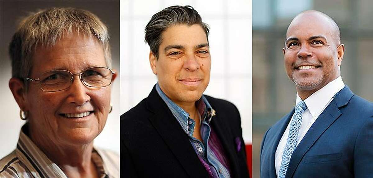 (From Left to Right) Nancy Sidebotham, Oakland City Council at-large incumbent Rebecca Kaplan, Derreck Johnson